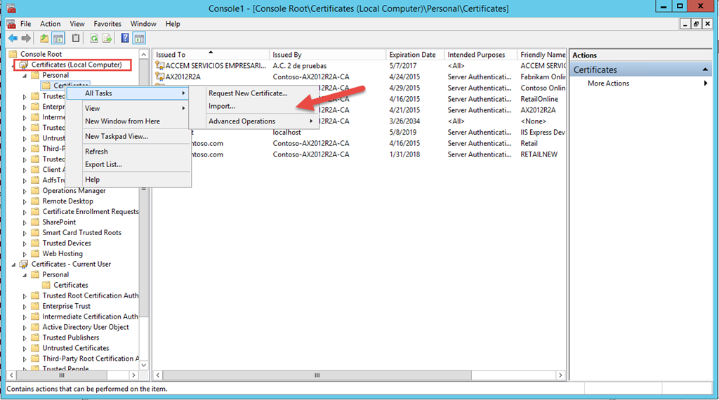 Changing The Certificate Used For Channel Database Sync In Ax 2012